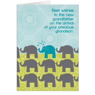 Grandfather Congrats New Grandson Cute Elephants Card