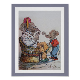 Grandfather Elephant with Grandson Poster