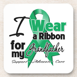 Grandfather - Liver Cancer Ribbon.png Beverage Coasters