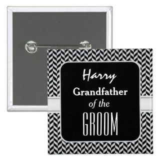 GRANDFATHER OF THE GROOM Trendy Houndstooth A06 Button