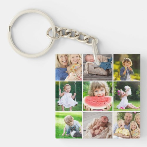 Grandkids 9 Square Photo Instagram Collage Keychain