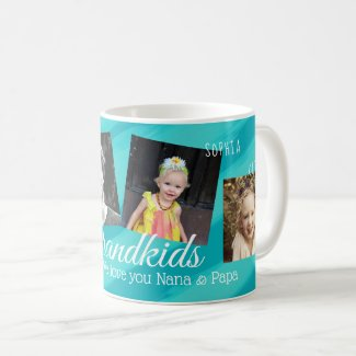 Grandkids Aqua Blue Stripes Four Photo Collage Mug