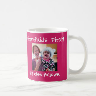 Grandkids First Custom Photo & Text Coffee Mug