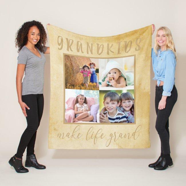 Grandkids make life Grand Neutral Photo Collage Fleece Blanket