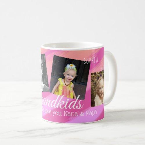 Grandkids Pink Orange  Stripes Four Photo Collage Coffee Mug
