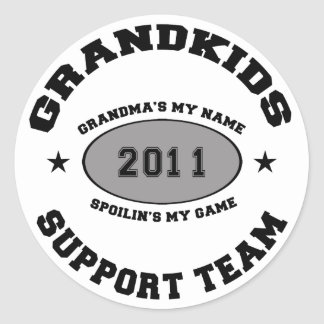 Grandkids Support Team Grandma 2011 Classic Round Sticker