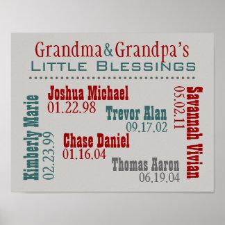 Grandma and Grandpa's Grandkids Names Birthdays Poster