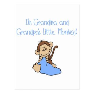 Grandma and Grandpa's Monkey-Blue Tshirts Postcard