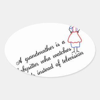 Grandma Babysitter Oval Sticker