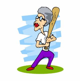 grandma batting baseball cutout