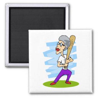 grandma batting baseball magnet
