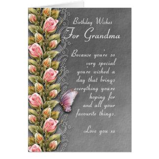grandma birthday card - birthday card with roses