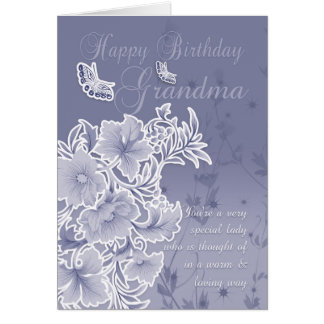 Grandma, Birthday Card With Flowers And Butterflie
