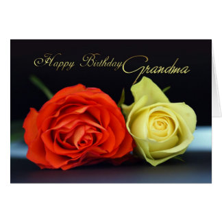Grandma Birthday Card With Orange And Cream Roses