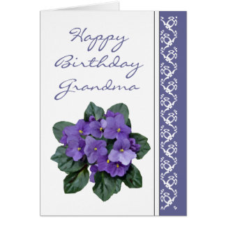 Grandma Birthday Poem African Violet Purple Flower Greeting Card