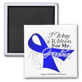 Grandma Blue Ribbon - Colon Cancer 2 Inch Square Magnet
