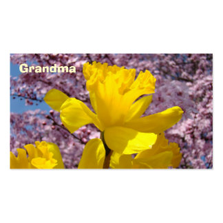 Grandma Business Cards Yellow Daffodils Blossoms