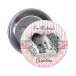 Grandma Button - Damask & Stripes Pink