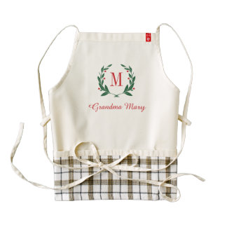 Grandma Christmas Laurel Wreath Monogram Zazzle HEART Apron
