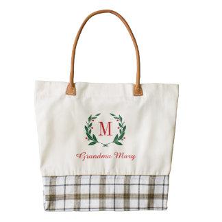 Grandma Christmas Laurel Wreath Monogram Zazzle HEART Tote Bag