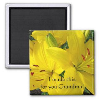 Grandma Christmas present Yellow Lily magnet