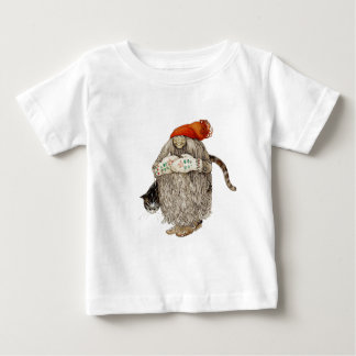 Grandma Christmas Tomten with Gray Cat Baby T-Shirt