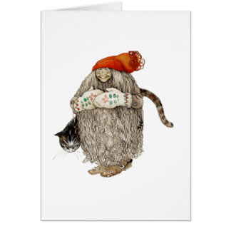 Grandma Christmas Tomten with Gray Cat Card