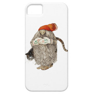 Grandma Christmas Tomten with Gray Cat iPhone 5 Covers