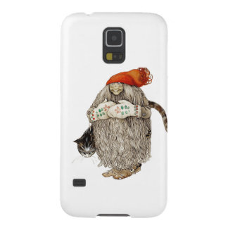 Grandma Christmas Tomten with Gray Cat Cases For Galaxy S5