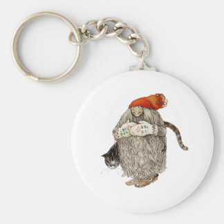 Grandma Christmas Tomten with Gray Cat Keychains