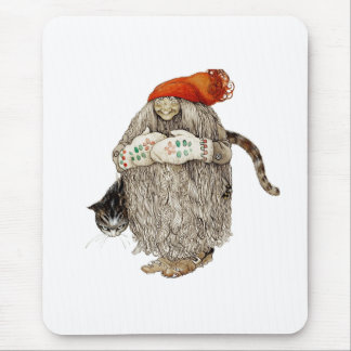 Grandma Christmas Tomten with Gray Cat Mousepads