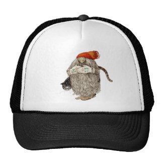 Grandma Christmas Tomten with Gray Cat Trucker Hat