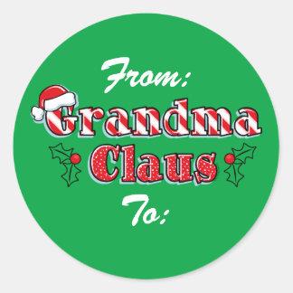 Grandma Claus Gift Tag Classic Round Sticker
