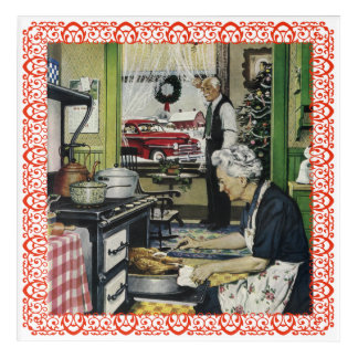 Grandma Cooking Christmas Turkey Dinner Kitchen Acrylic Print