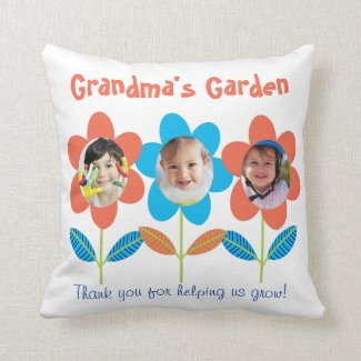 Grandma Custom Photo Flowers Throw Pillow