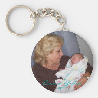 """Grandma Dana holding newborn Emma Grace"" keychain"