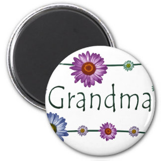 Grandma Design with Daisies 2 Inch Round Magnet