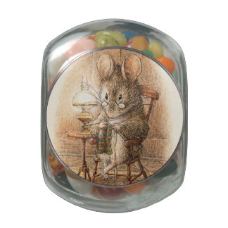 Grandma Dormouse Celebration Glass Candy Jar