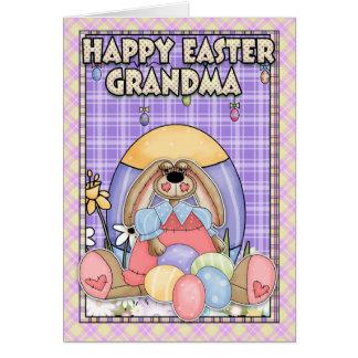 Grandma Easter Card - Easter Bunny & Easter Eggs