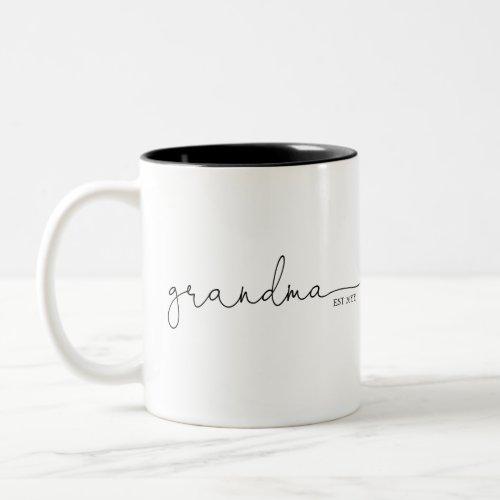 Grandma Established | Grandma Gift Two-Tone Coffee Mug