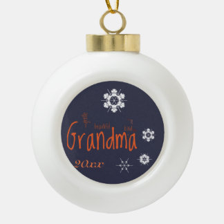 Grandma Evening Snowflakes Word Art Ornament