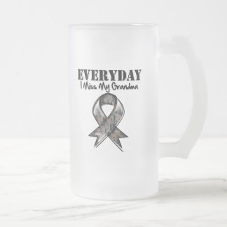 Grandma - Everyday I Miss My Hero Military Frosted Glass Beer Mug