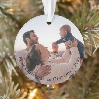 Grandma First Christmas Personalized Photo Ornament