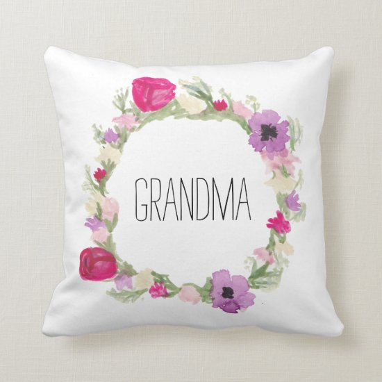 Grandma Floral Wreath Pillow Mother's Day Gift