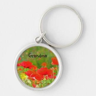 Grandma gifts keychains Red Poppy Flowers