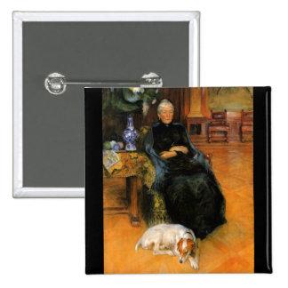 Grandma Gothilda with Dog Portrait Pinback Button