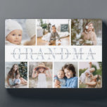 """""""Grandma"""" Grandchildren Names 7 Photo Collage Plaque<br><div class=""""desc"""">Create a sweet gift for grandma with this seven photo collage plaque. """"GRANDMA"""" or your grandma's preferred nickname appears in the center in chic gray lettering,  with your custom message and grandchildren's names overlaid.</div>"""