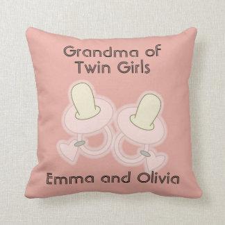Grandma Grandpa Aunt Uncle Mom Dad of Twin Girls Throw Pillow