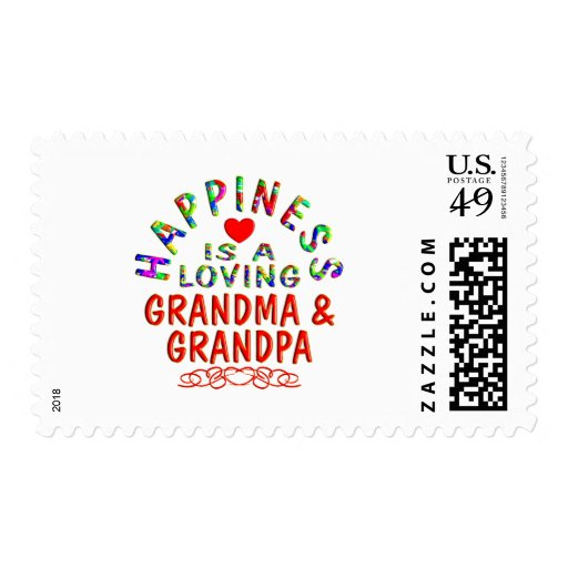 Grandma & Grandpa Happiness Postage Stamps