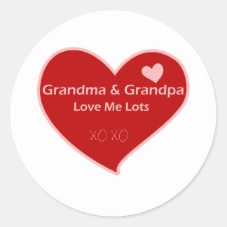 Grandma & Grandpa Love Me Classic Round Sticker